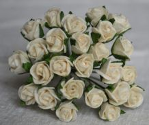8mm OFF WHITE SEMI-OPEN ROSE BUDS Mulberry Paper Flowers